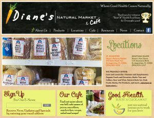 Avid Design Group, St. Augustine website designers, website design St. Augustine, Dianes natural market and cafe, dianes, affordable website design