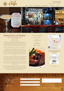 Avid Design Group, Le Pavillon Restaurant, upscale restaurant in st. augustine, st. augustine website design, website design st. augustine, affordable website design, professional website design