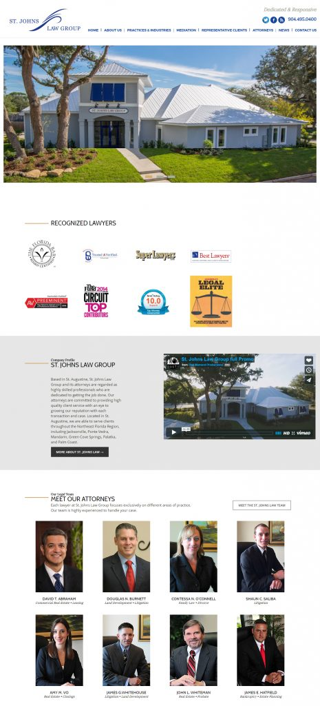 St. Augustine website design, website design St. Augustine, Avid Design Group, St. Johns Law Group, attorney websites, website designers, legal websites