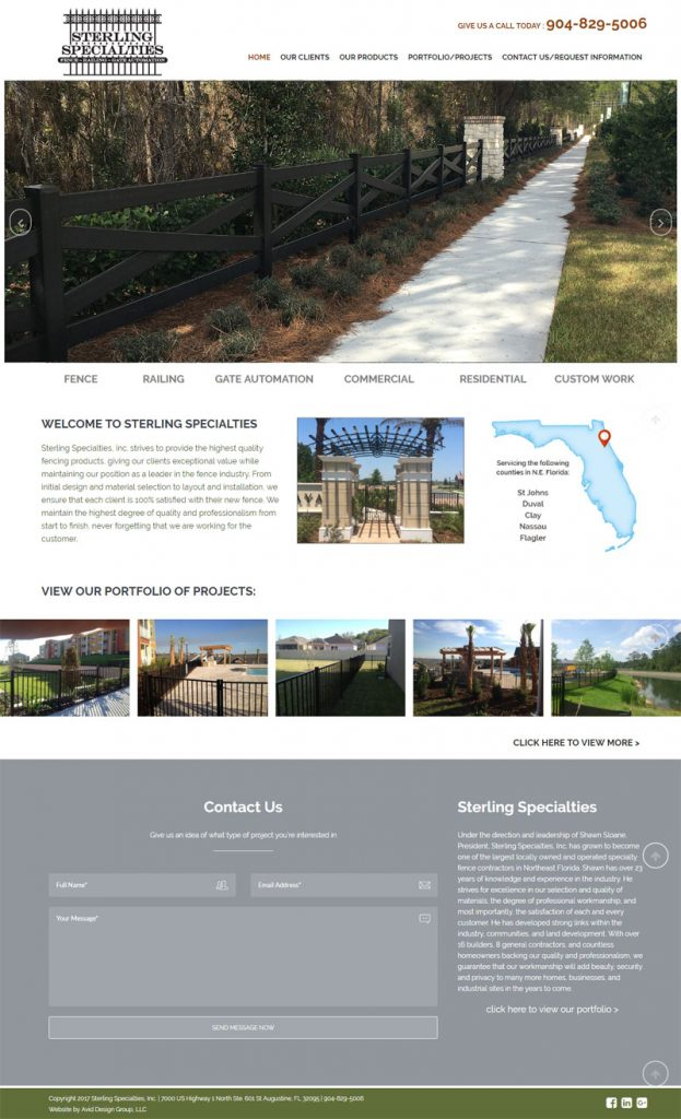 St. Augusitne website design, website design st. augustine, affordable website design, professional website design, Avid Design Group, Sterling Specialties, Inc.