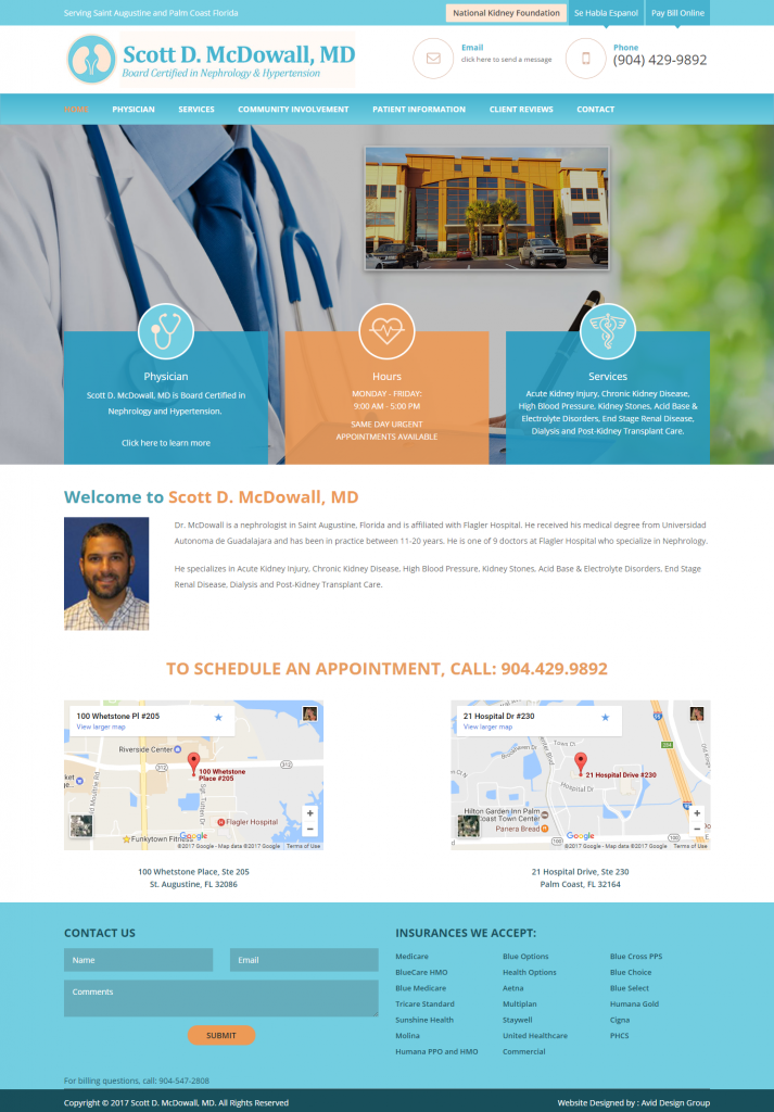 Dr. Scott McDowall, Scott D McDowall, MD, Avid Design Group, st. augustine website design, website design st. augustine, affordable website design, professional website design, graphic design
