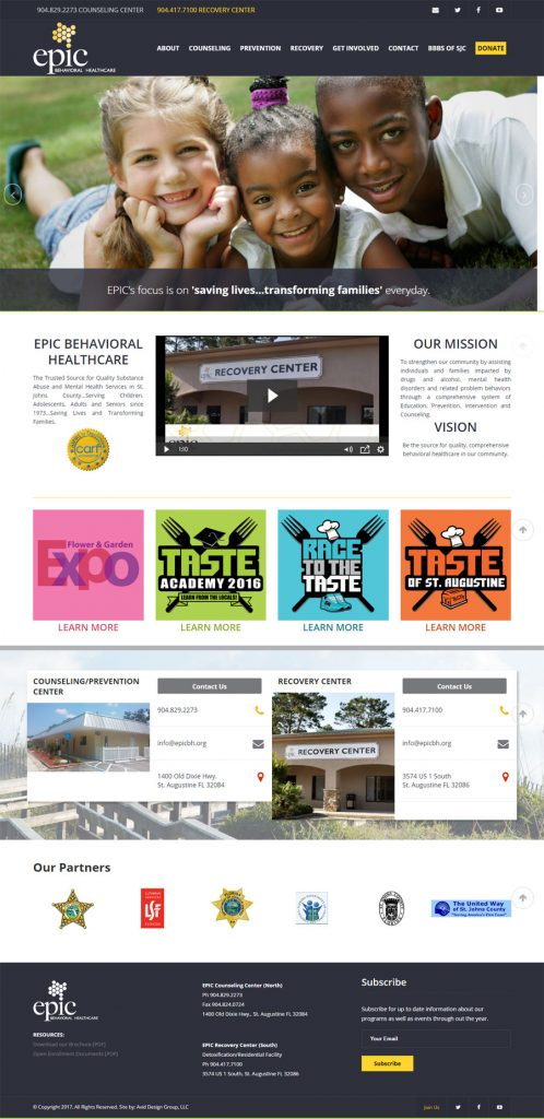 EPIC Behavioral Healthcare, Avid Design Group, St. Augustine Website design, website design st. augusitne, website designers, Epic BH, graphic design, affordable website design, professional website design