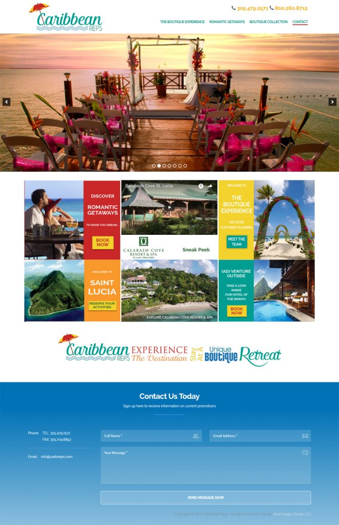 Caribbean Reps, Avid Design Group, affordable website design, st. augustine website design, website designers st. augustine, print design, graphic design, marketing st. augustine