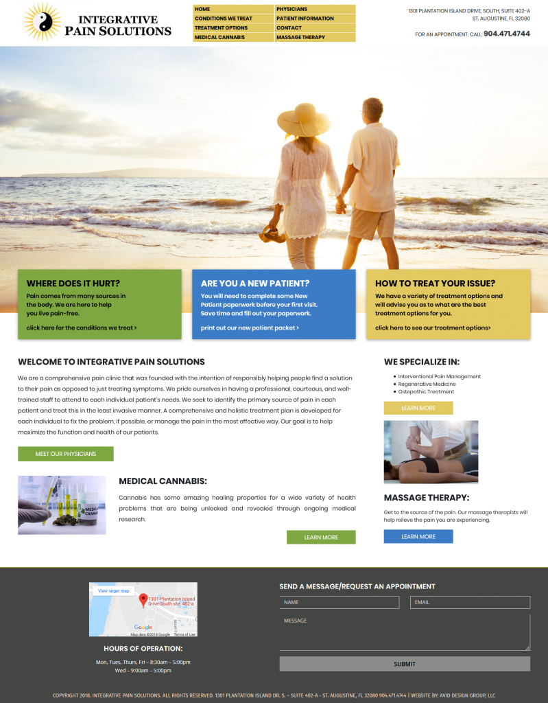 Integrative Pain Solutions, Avid Design Group, affordable website design, website design st. augustine, st. augustine website designers, web design, responsive design, SEO Services, web hosting