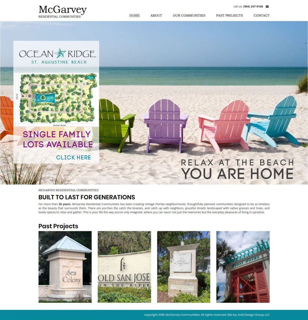 McGarvey Residential Communities, Avid Design Group, affordable website design, website design st. augustine, st. augustine website designers, web design, responsive design, SEO Services, web hosting