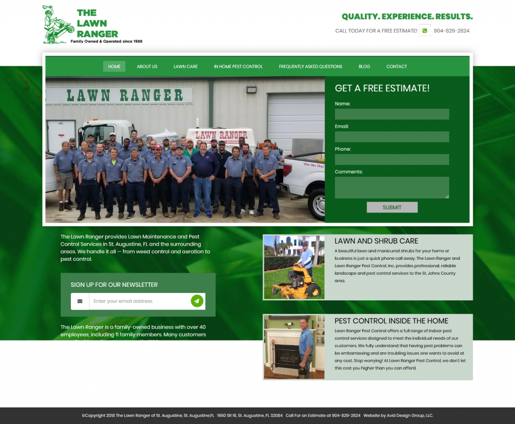The Lawn Ranger, Avid Design Group, affordable website design, website design st. augustine, st. augustine website designers, web design, responsive design, SEO Services