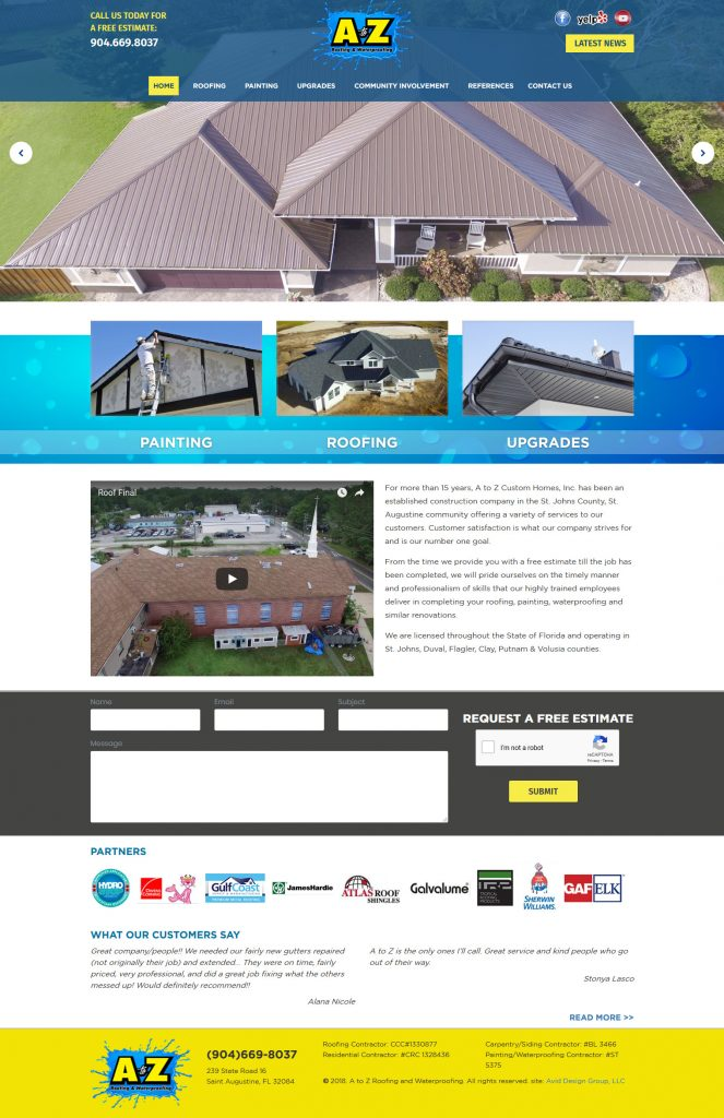 A to Z Roofing and Waterproofing, Avid Design Group, St. Augustine Website design, website design, graphic design, website designers, affordable website design, profession website design