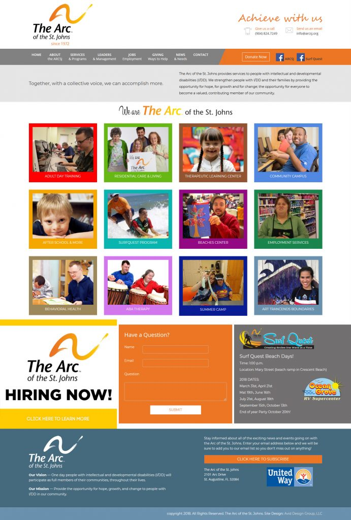 The Arc of the St. Johns, St. Augustine Website design, website designers, graphic design, professional website design, affordable website design