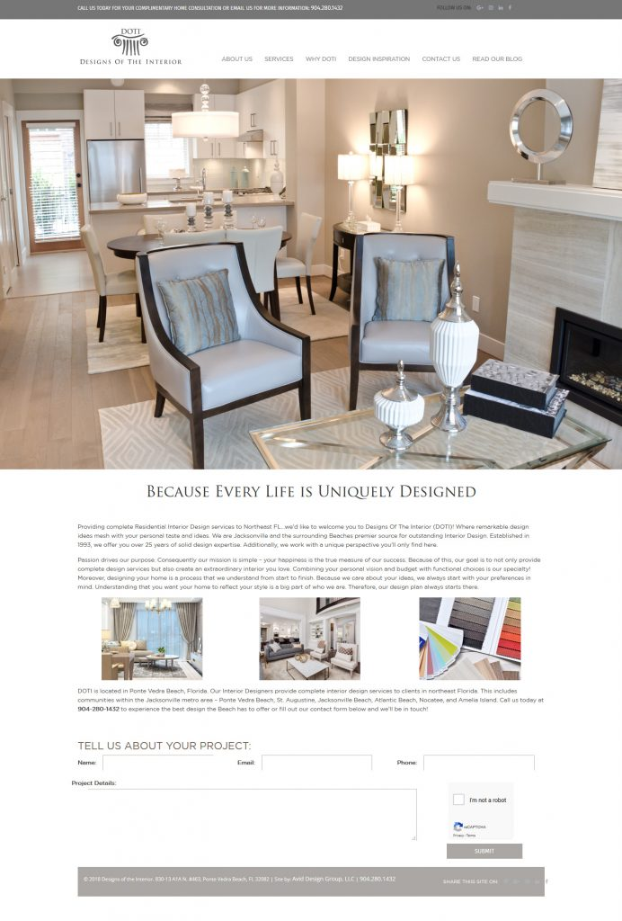 Designs of the Interiors, DOTI, St. Augustine website design, avid design group, website designers, affordable website design, graphic designers, web design