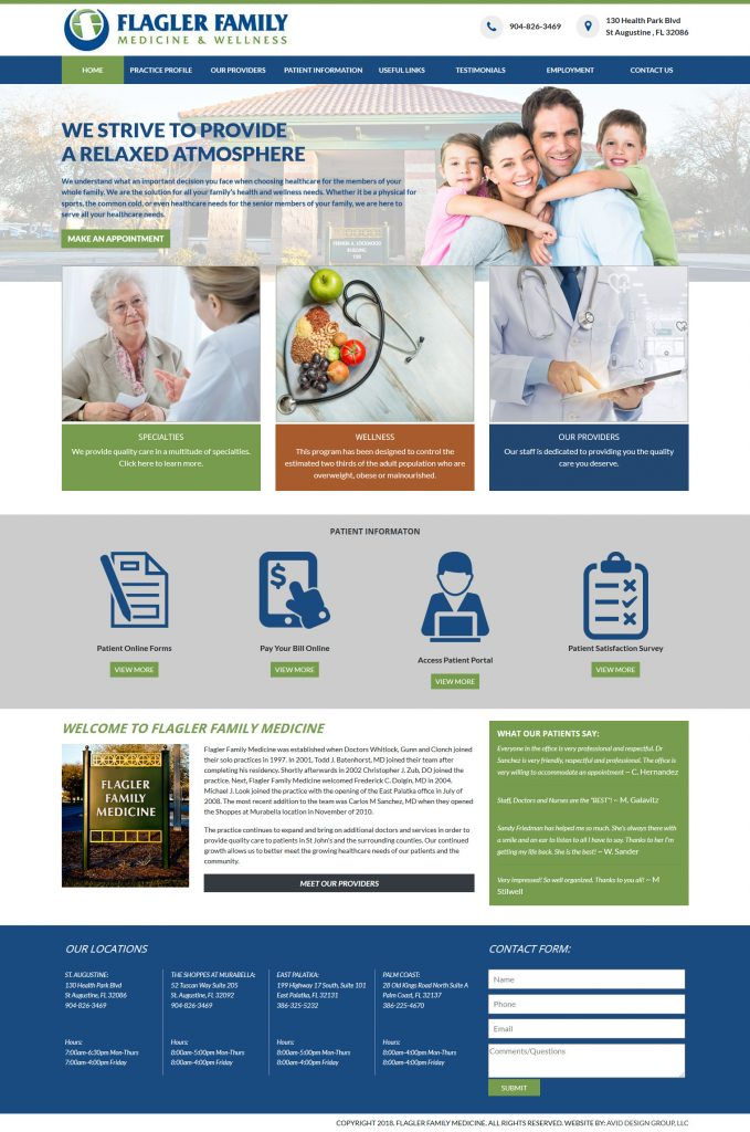 Flagler Family Medicine, Chris Zub, DO, St. Augustine website design, avid design group, website designers, affordable website design, graphic designers, web design