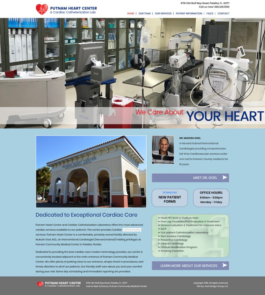 Putnam Heart Center, Mukesh Goel, MD, St. Augustine website design, avid design group, website designers, affordable website design, graphic designers, web design