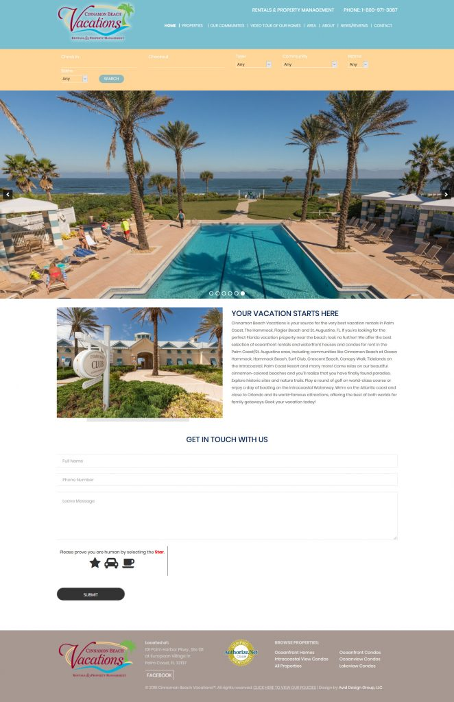 Cinnamon Beach vacations, Avid Design Group, website design st. augustine, st. augustine website design, professional website design, affordable website design