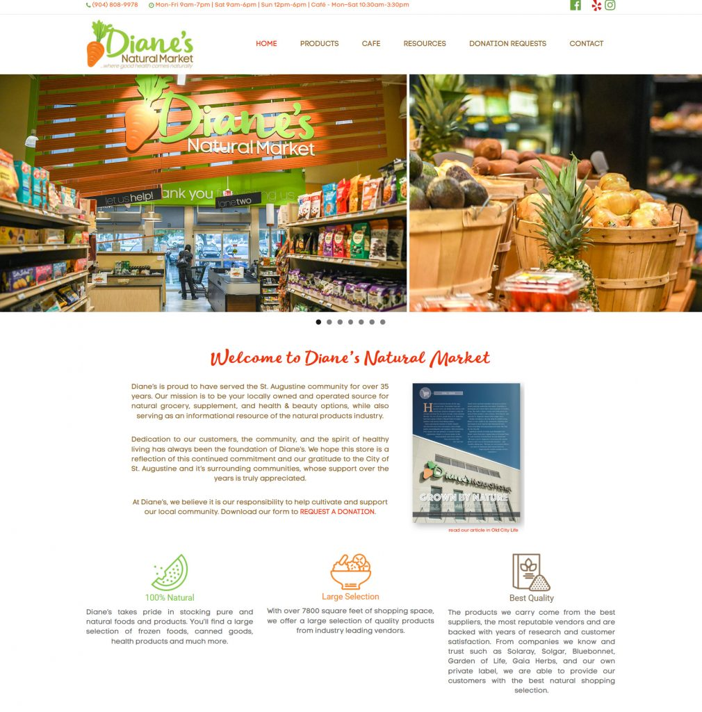 Diane's Natural Market, Avid Design Group, Website design st. Augustine, St. augustine website design, affordable website design, graphic design