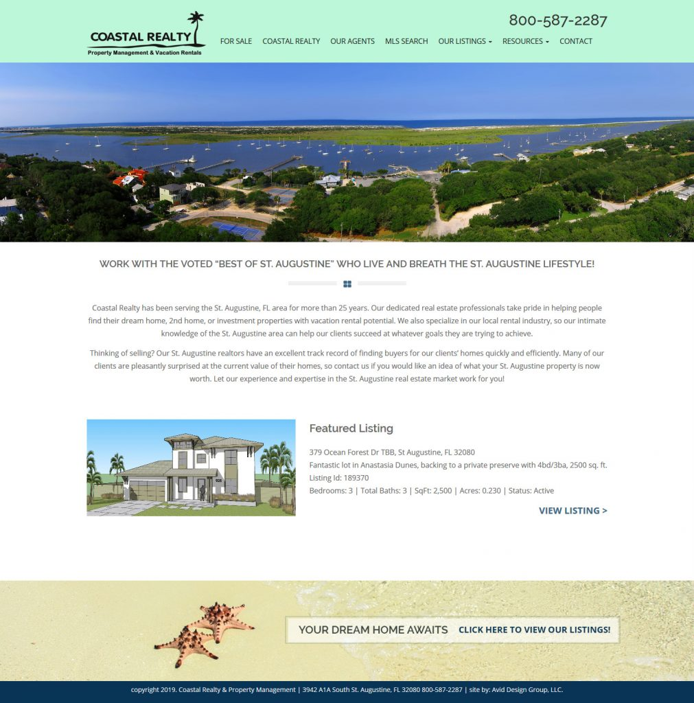 Coastal Realty, Avid Design Group, Affordable website design, St. Augustine Website Design, Website Design St. Augustine, Graphic Design St. Augustine