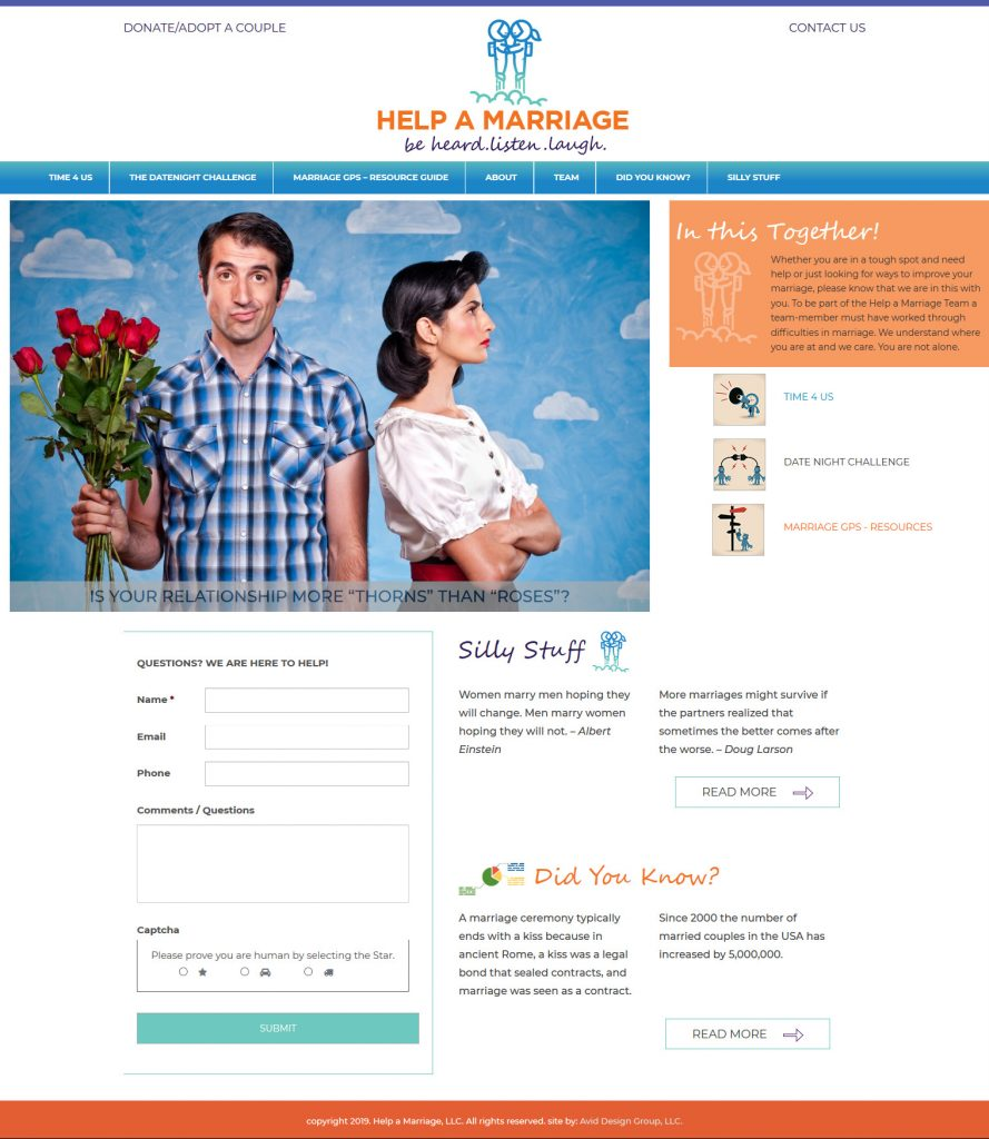 Help a Marriage, Avid Design Group, St. Augustine Website Design, professional website design, website design st. augustine, graphic Design St. Augustine